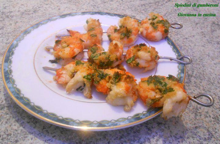 Spiedini di gamberoni, senza sale, antipasto di mare, giovanna in cucina