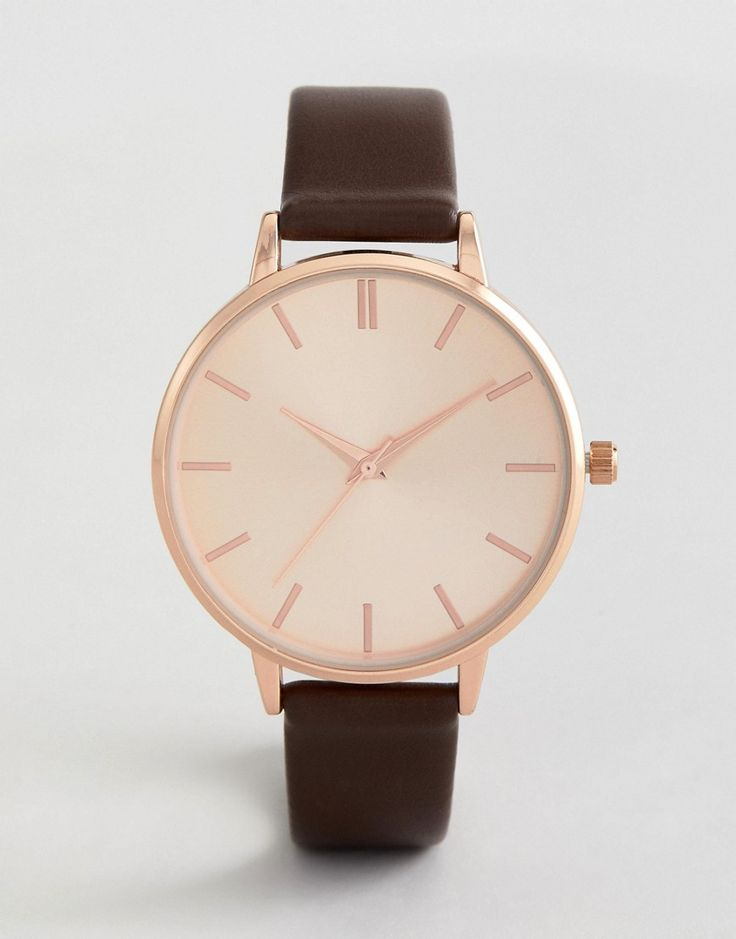 NEW LOOK FAUX LEATHER STRAP WATCH - BROWN. #newlook #