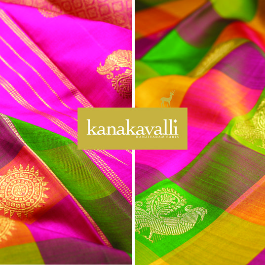 Traditional checks in a spectacular colour combination and a touch of zari embellish the pattern achieved by the traditional motifs. The beautiful Annaparavai that represents divinity, purity, prosperity & beauty and the Chakra that represents the spiritual aspect of a person's life come together in this Kanakavalli Kanjivaram, making it a special and unique sari.