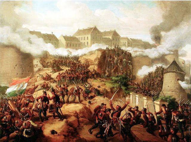 Jakobey Károly (1825-1891)-'battle of Buda'-oil on canvas