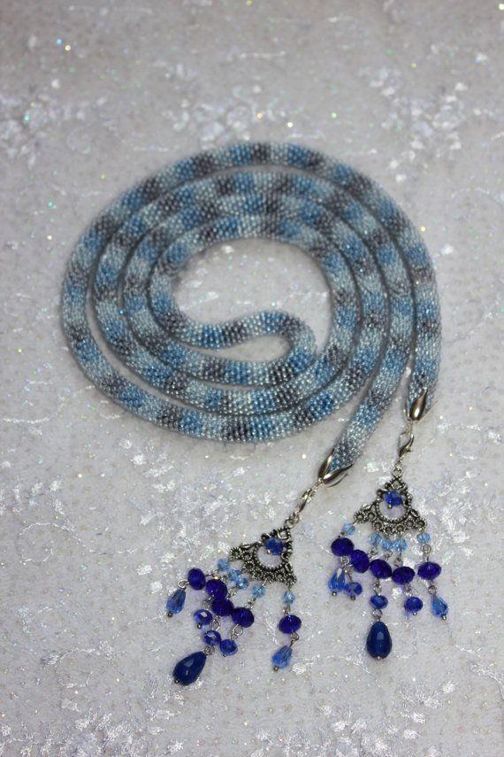 Lariat di mare blu collana all'uncinetto di BeadCreativityByOlia