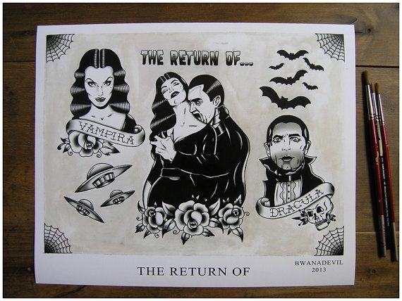 The Return of... tattoo flash print by bwanadevilart on Etsy, €11.50
