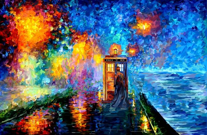 The 10th Doctor who Starry the night Art painting Art Print