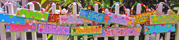 Hand Painted Name Signs for Boys Girls Teachers with by elliesshop, $29.95