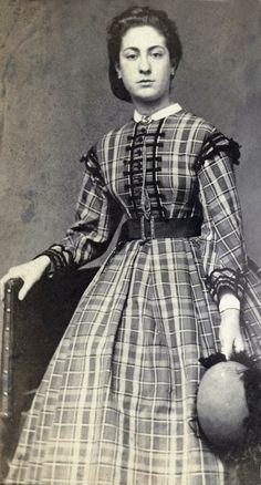 Amsterdam, ca. 1863-66. Photo: K Hamburger, C Karsen. Rijksmuseum. 1860s civil war era (Dutch). Young Victorian lady wearing a lovely plaid dress.
