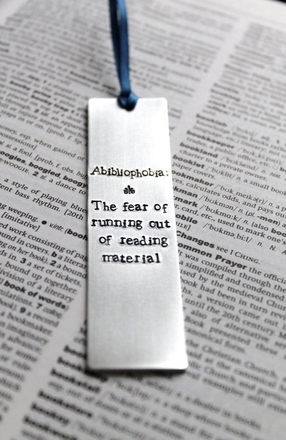 Abibliophobia : Dictionary Definition - Metal Stamped Personalised Bookmark Funny Humor on Etsy, $13.68