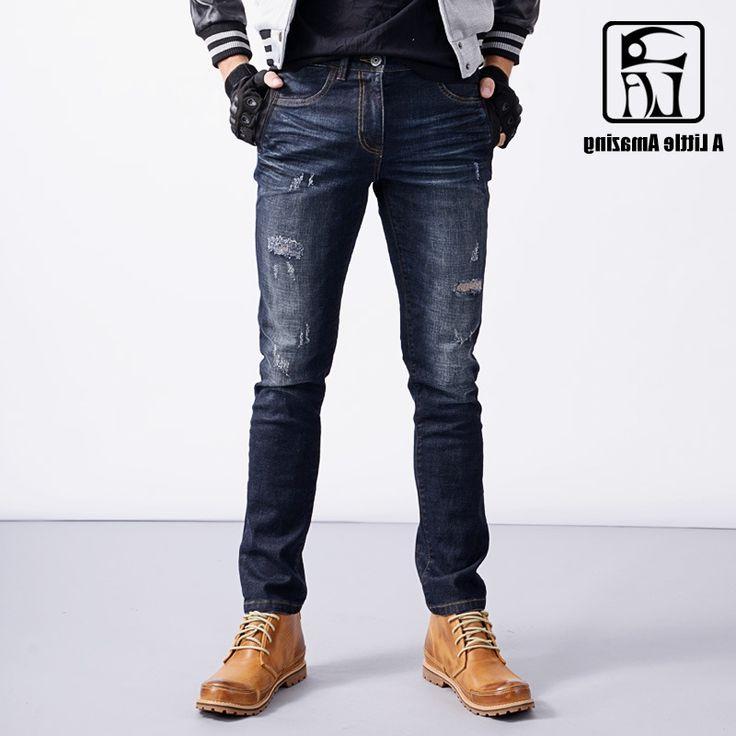 36.27$  Buy now - https://alitems.com/g/1e8d114494b01f4c715516525dc3e8/?i=5&ulp=https%3A%2F%2Fwww.aliexpress.com%2Fitem%2F2016-Autum-Winter-Mens-Stretch-Cotton-Denim-Distressed-Jeans-Ripped-Dark-Washed-Slim-Skinny-Jeans-Cargo%2F32744837334.html - 2016 Autum / Winter Mens Stretch Cotton Denim Distressed Jeans Ripped Dark Washed Slim Skinny Jeans Warm Cargo Pants 169071