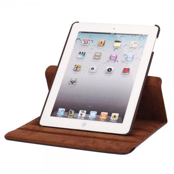 ***HOTDEALS 360 Degree Rotating Stand Litchi Leather Case for iPad 2/3/4 Brown #UnbrandedGeneric