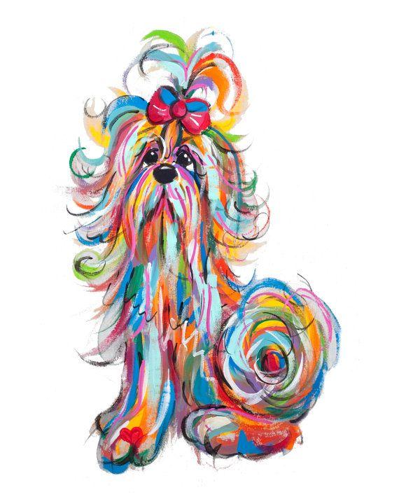 Peinture de chien Shih Tzu par lartiste par FauxPawProductions