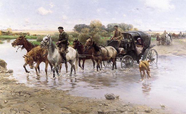 Przeprawa przez rzekę  Autor:Wierusz-Kowalski Alfred (1849 - 1915) Rozmiary:72 x 118 cm Technika:olej, płótno