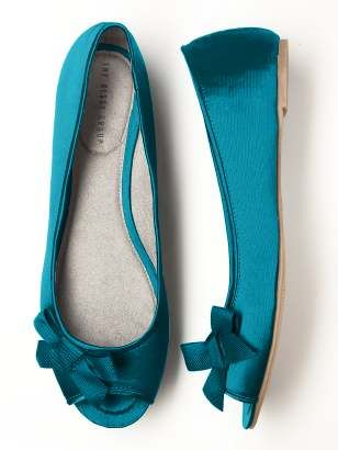Peep Toe Satin Ballet Flats at THE DESSY GROUP $30.00  Also come in Red, Yellow & Black.