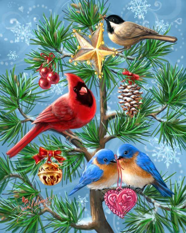 """""""Festive Flock"""" by Dona Gelsinger ~ Christmas birds"""