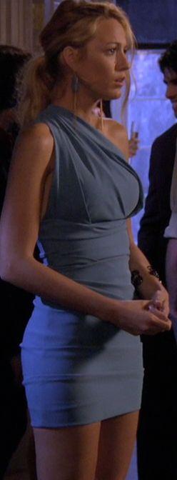 Serena van der Woodsen's Blue One Shoulder Dress from Gossip Girl, Season 5.