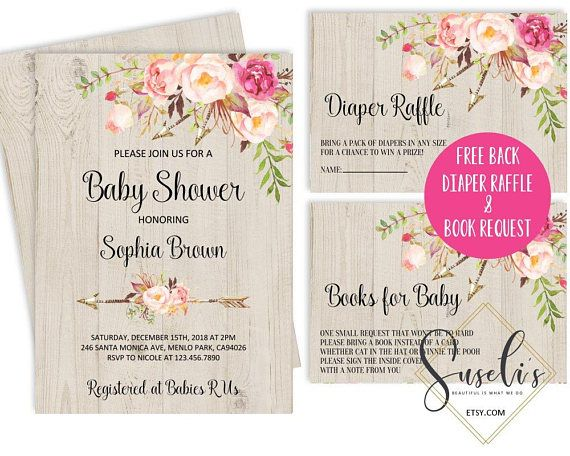Baby Shower Invitation Free Book Diaper Insert Watercolor Pink