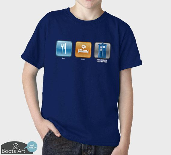 Geek Doctor Who Shirt  Eat Sleep Time Travel  100 by BootsArt