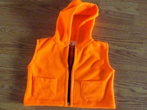 #Fleece Vest #orange hoodie #baby vest #Hunting Vest.  https://www.etsy.com/listing/253768765/orange-hunting-vest-toddler-vest-fleece