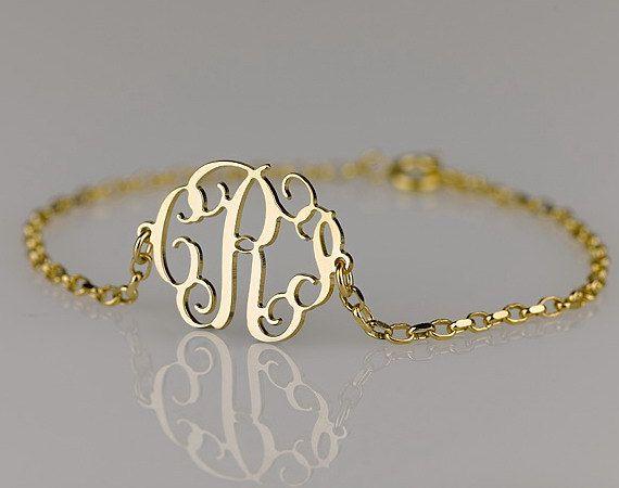 Monogram Bracelet 0.6 inch , Side attached on 18k Gold Plated over Sterling Silver. $35.95, via Etsy.