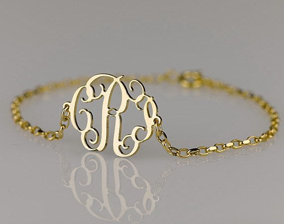 Monogram Bracelet 0.6 inch , Side attached on 18k Gold Plated over Sterling Silver. $35.95, via Etsy.: Gold Plates, Bracelets 0 6, Bridesmaid Gifts, 0 6 Inch, Sterling Silver, Monograms Bracelets, Necklaces, Side Attached, 18K Gold