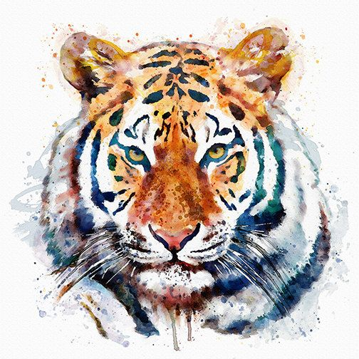 Watercolor portrait of a Beautiful Tiger Head for Instant Download/ Printable Tiger decor/ Animal art/ Wildlife Big cat painting/ For him