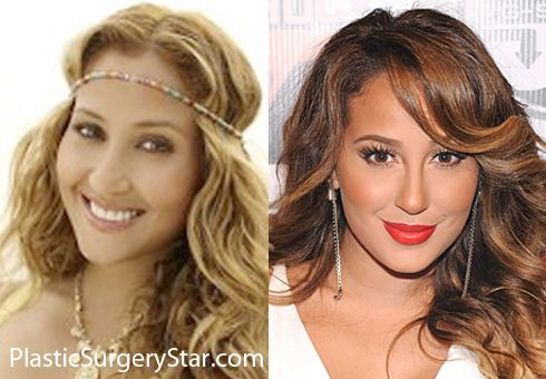 It's up for debate on whether or not Adrienne Bailon had a nose job, but the before and after picture makes it look like she did.  Her nose used to be more bulbous at the tip than it is now.