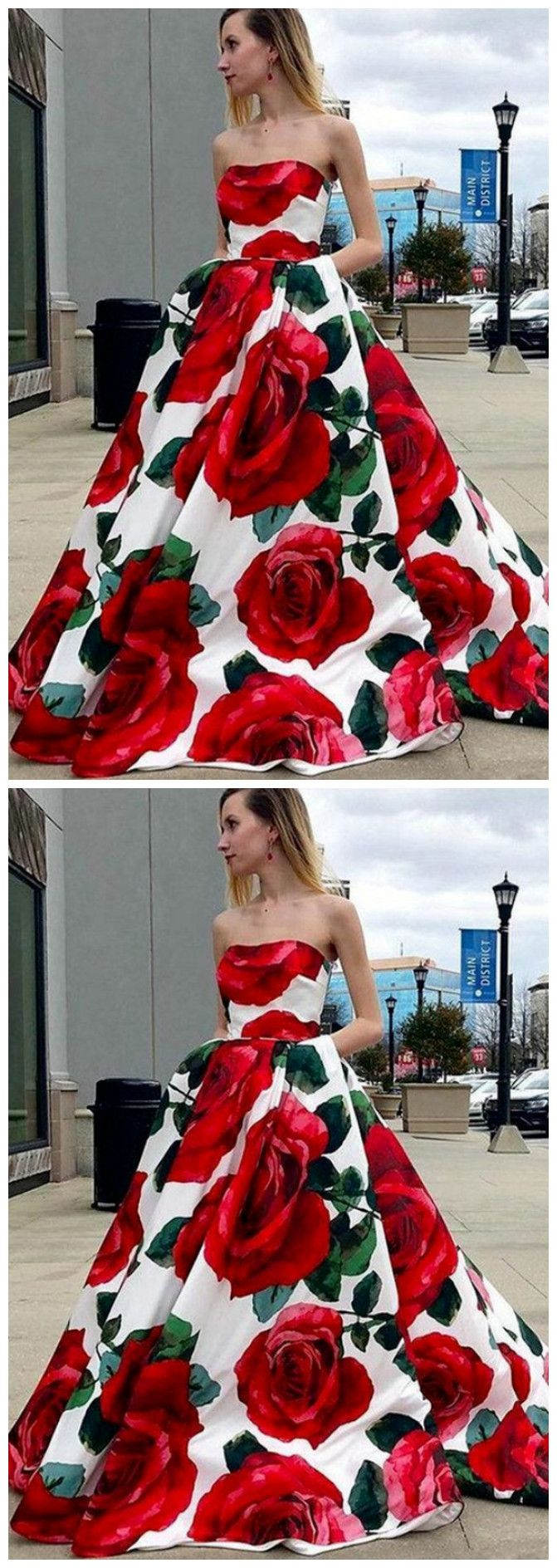Floral Prom Dresses Long Strapless Prom Dresses Red Graduation Dress Floral Prom Dresses Red Graduation Dress Beautiful Prom Dresses [ 1888 x 671 Pixel ]