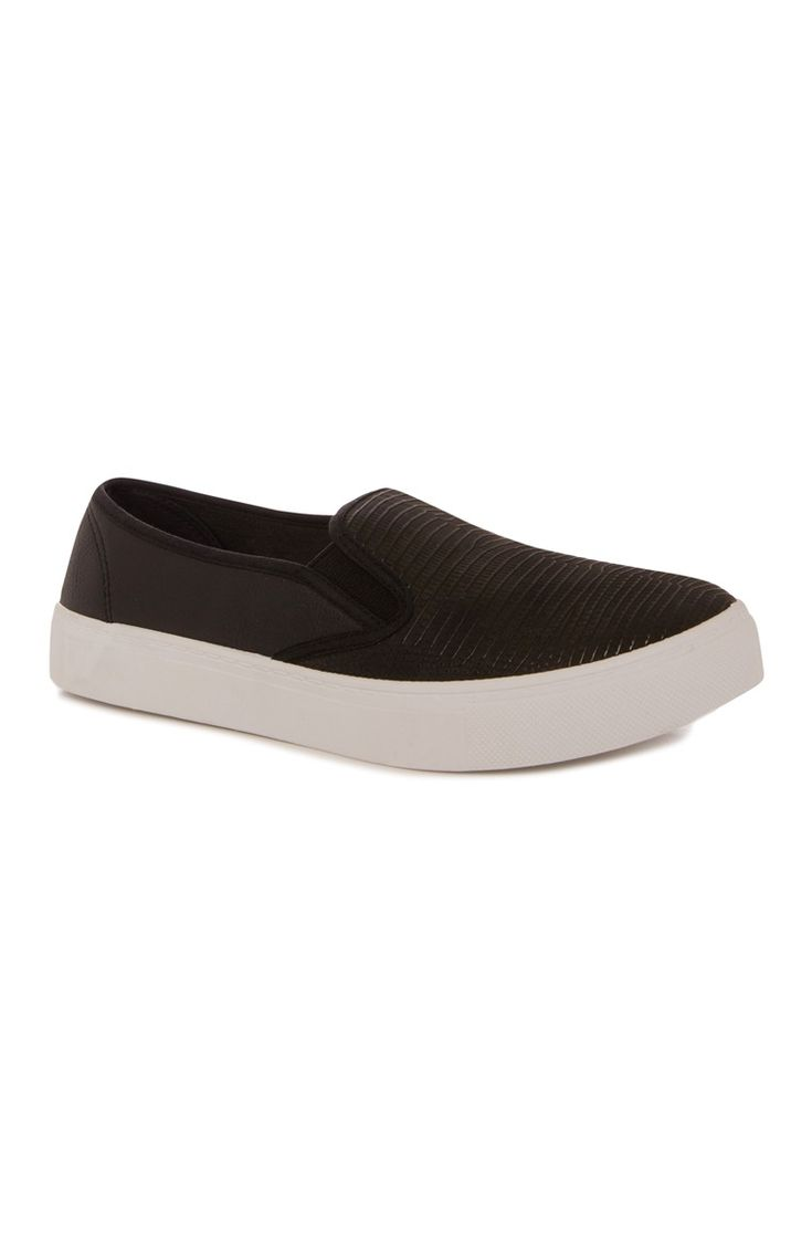 Primark - Black PU Slip On Trainer