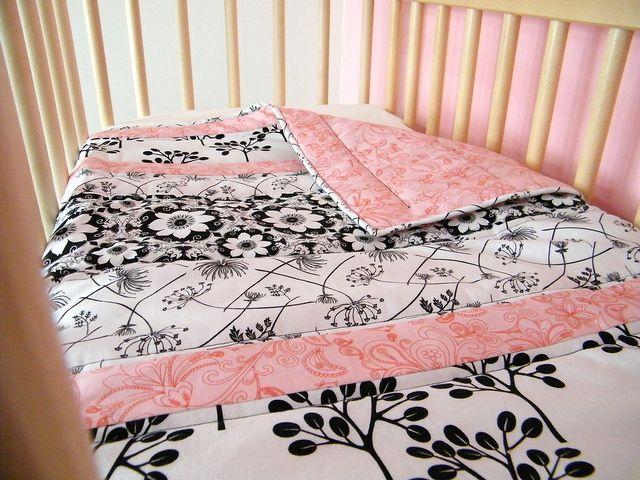 beautiful handmade scrappy strip quilt