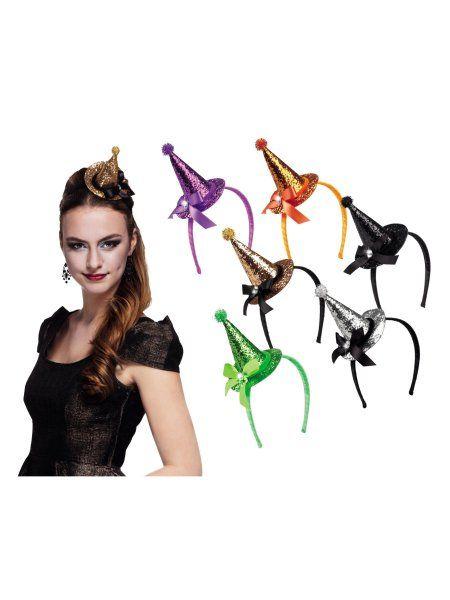 """https://11ter11ter.de/40360749.html Partyaccesoire für Silvester """"Tiara Mini Hexenhut"""" in verschiedenen Glitzerfarben #11ter11ter #outfit #accesoires #silvester #party #neujahr #mottoparty"""