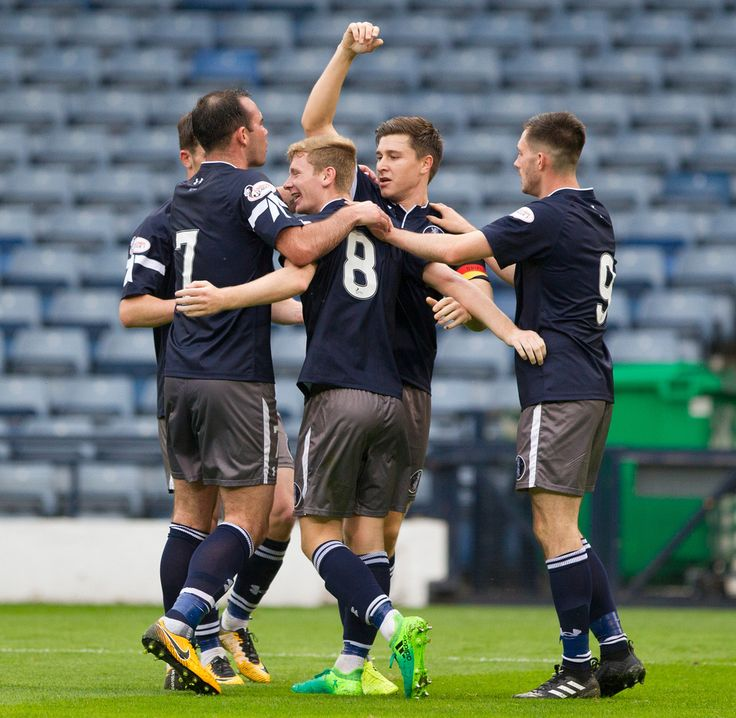Queen's Park players celebrate Dominic Docherty's goal during the Betfred Cup game between Queen's Park and Edinburgh City.