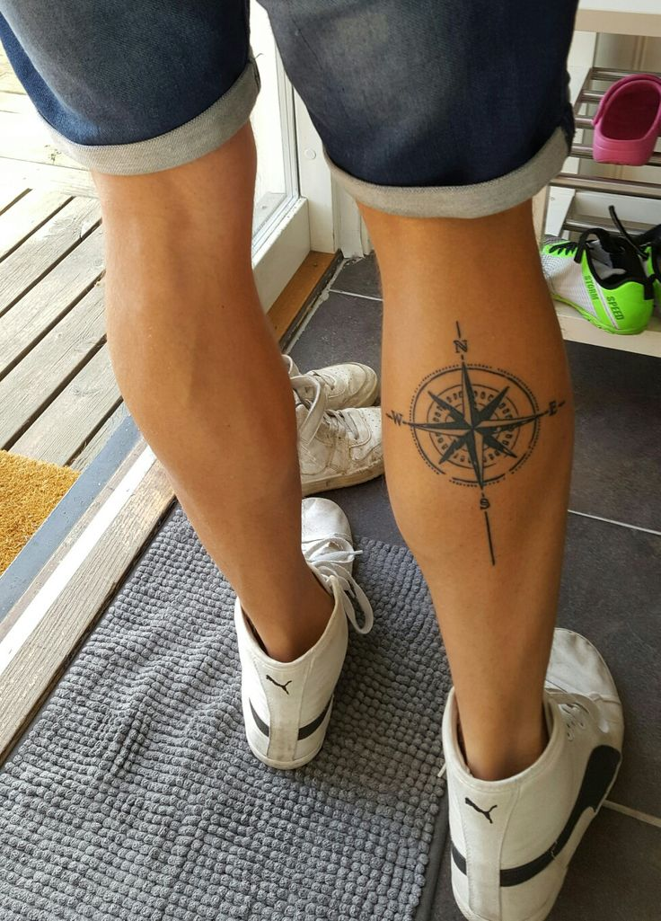 #compass #calf tattoo