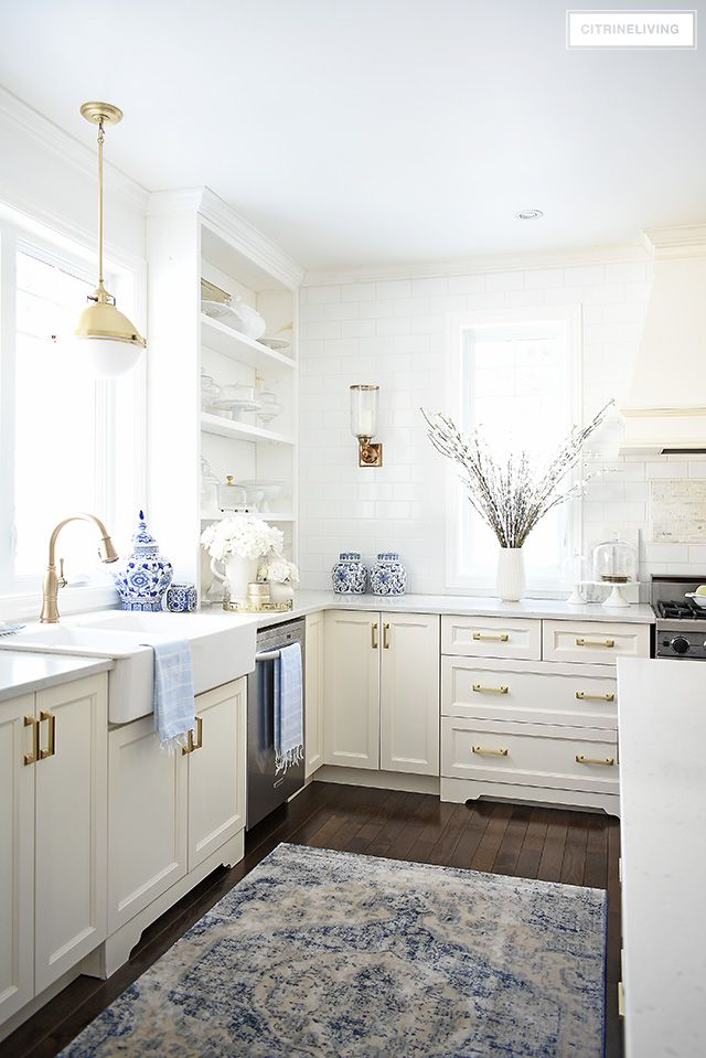 Spring Kitchen Decorating Ideas Citrineliving Blue Decor White Kitchens