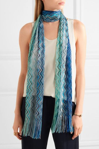 Missoni - Fringed Crochet-knit Scarf - Blue - one size