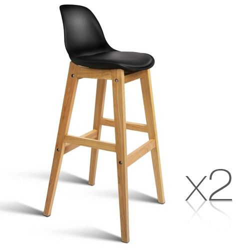x2 Oak Wood Bar Stools w/ Padded PU Leather Seat - Black