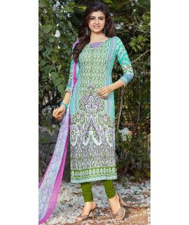 Glossy Blue And Green Cotton Straight Suit.