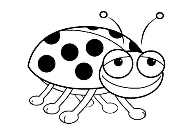 Lady Bug, : Smiling Lady Bug Coloring Page