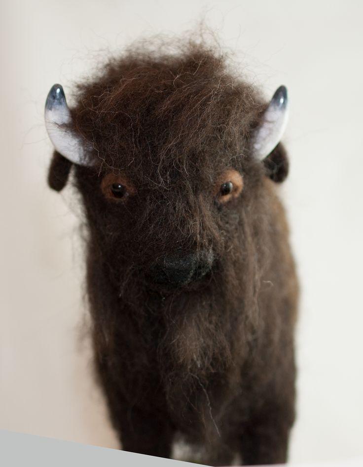 Needle felted bison.