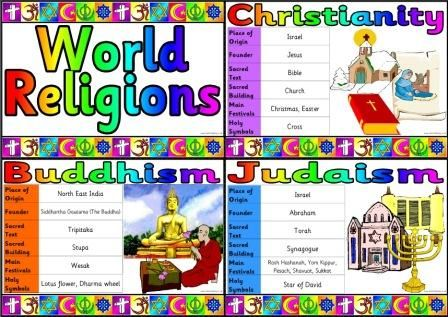 Free Printable basic outline facts relating to 7 different World religions.