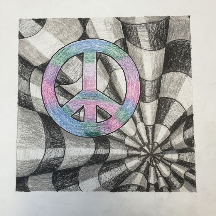 Peace sign black and white op art
