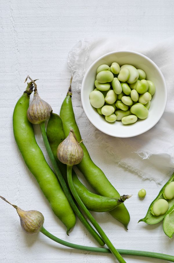 broad beans and garlic spears from @Down Under