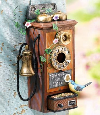 Vintage Phone Bird House - this is so pretty - if i had one, i'd have to keep it inside