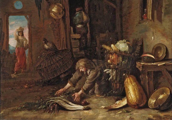Willem Kalf (1619-1693). Ферма с коленопреклоненным человеком., 1645