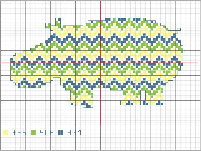 hippopotame - grille point de croix - cross stitch pattern