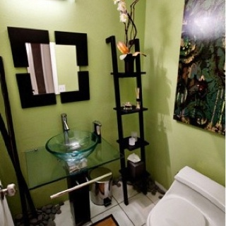 Finest Green Asian Inspired Bathroom With Decor