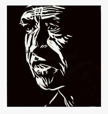 Linoleum cut portrait of Cesar Chavez (II) by German born printmaker Dirk Hagner