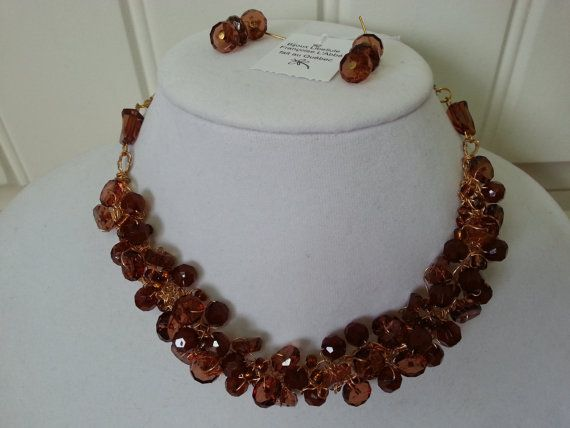 Knitted metal wire necklace Amber jewelry by LesBijouxLibellule