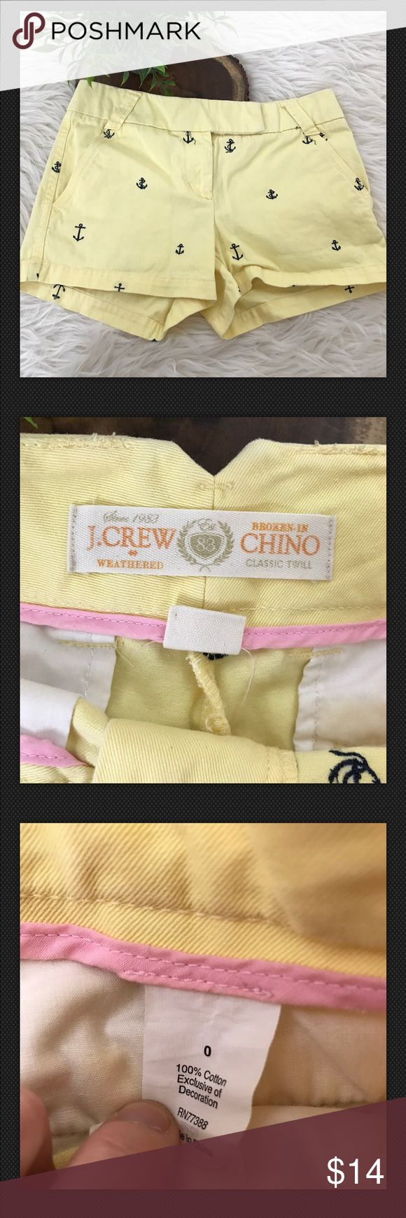 J.Crew Yellow City Fit Anchor Shorts Size 0 J.Crew Womens Yellow City Fit Broken In Chino Shorts Embroidered Anchors Size 0. Great gently worn condition, smoke free home!WC22  Measurements (in inches) are as follows: Waist, laid flat, side to side: 15 Inseam: 3 Rise: 8.5 J. Crew Shorts