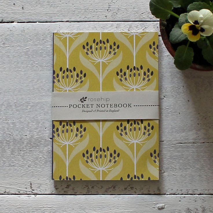Yellow seedhead pocket notebook - 100% recycled paper. Designed and printed in England.