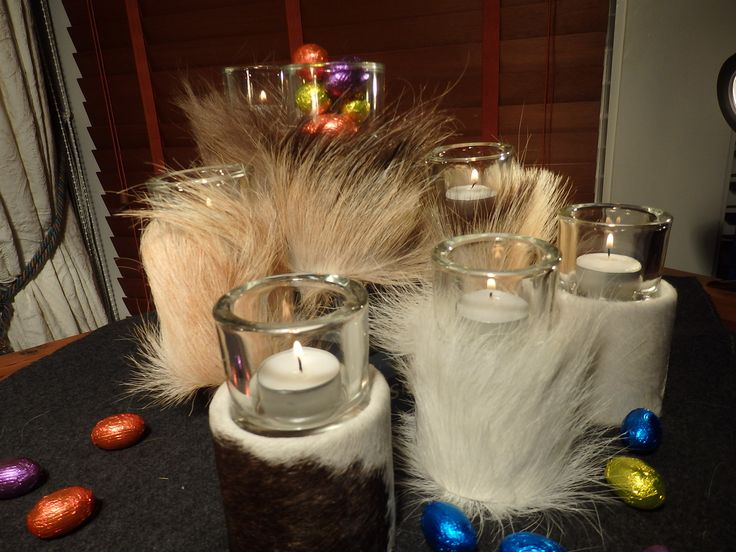 """Small cute tea light candle holders from kuliku. 100% made in Bergen, Norway. Norwegian calf and goat skins. Easter eggs have too many calories, buy kuliku instead and have a """"cool"""" easter. www.kuliku.no"""