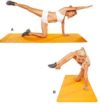"""Hand and Foot Touch and Reach - Bikini Workout by Tracy Anderson - Health Mobile Mains et des pieds Touch et portée Commencez à quatre pattes; étendre le bras droit en avant du corps et la jambe droite arrière (A). Bend de genou droit et du coude, ce qui porte la main droite et du pied ensemble (B). Prenez pied; tirer vers l'avant. Relâchez à """"A"""" Faire 30 reps."""