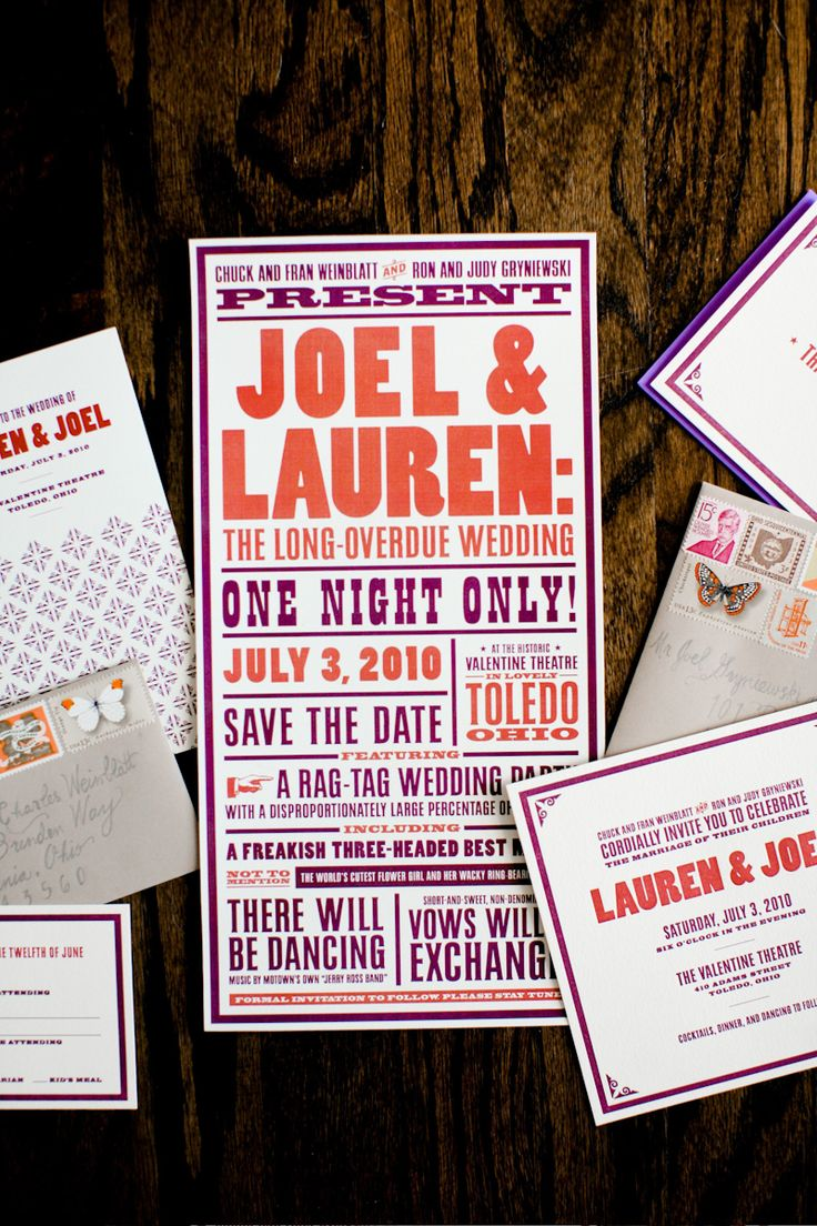 """Another cute rock concert style invite. Love the """"one night only!"""" Fun and relevant but the theme might be lost on more traditional guests receiving the invite."""